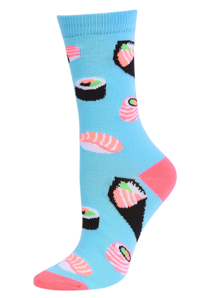 Load image into Gallery viewer, SOFRA WOMEN'S NOVELTY CREW SOCKS (SSC101_SUSHI2)