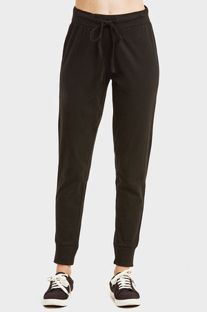 LADIES LIGHTWEIGHT COTTON JOGGER PANTS WITH POCKETS (SWP401_BLACK)