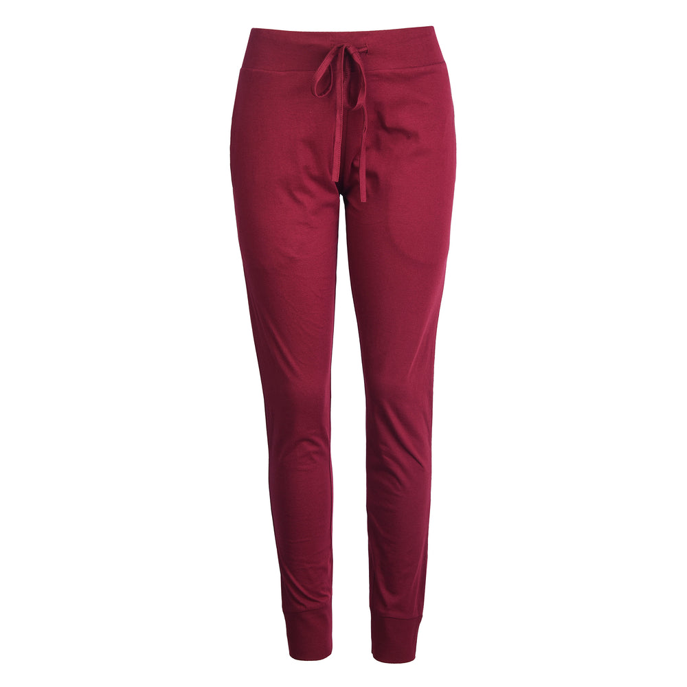 LADIES LIGHTWEIGHT COTTON JOGGER PANTS WITH POCKETS (SWP401_BURG)