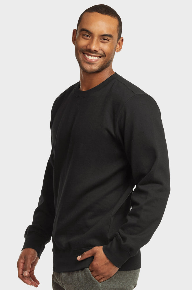 ET|TU MEN'S LIGHTWEIGHT FLEECE SWEATSHIRTS (SWS1020E_BLACK)