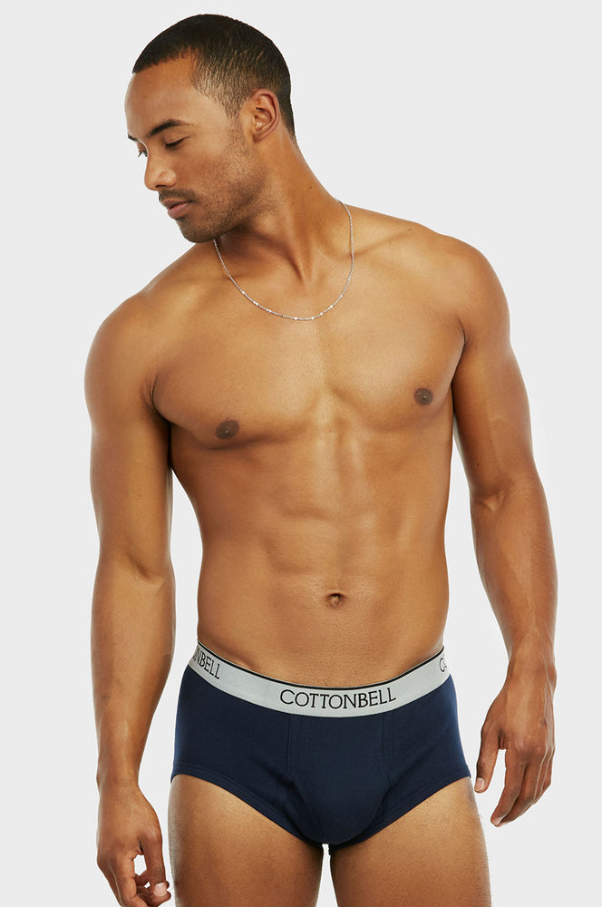 Load image into Gallery viewer, COTTONBELL MEN'S COLOR BAND BRIEFS (TUB300C_NAVY)