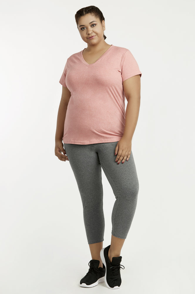 Load image into Gallery viewer, SOFRA LADIES COTTON CAPRI LEGGINGS PLUS SIZE (WP4001X_CHC-GR)