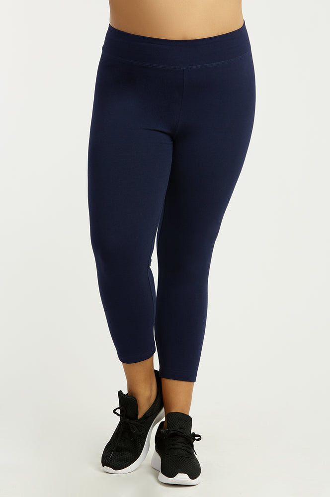 Load image into Gallery viewer, SOFRA LADIES COTTON CAPRI LEGGINGS PLUS SIZE (WP4001X_NAVY)