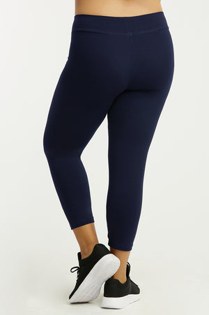 SOFRA LADIES COTTON CAPRI LEGGINGS PLUS SIZE (WP4001X_NAVY)