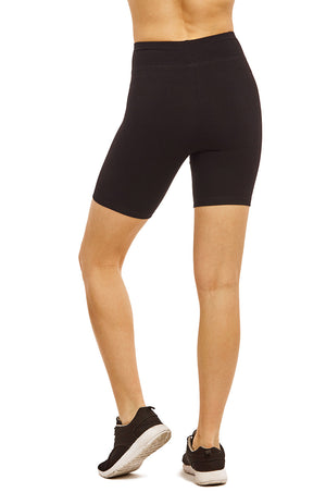 COTTONBELL LADIES COTTON 15 INCH OUTSEAM SHORTS WITH WIDE WAISTBAND (WP4015C_BLACK)