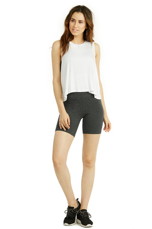 COTTONBELL LADIES COTTON 15 INCH OUTSEAM SHORTS WITH WIDE WAISTBAND (WP4015C_CHC-GR)