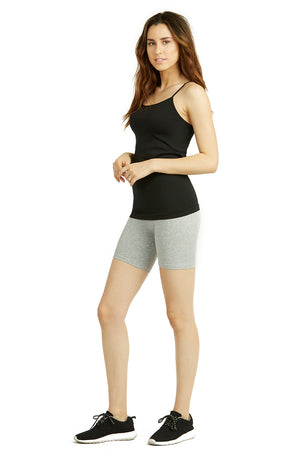 COTTONBELL LADIES COTTON 15 INCH OUTSEAM SHORTS WITH WIDE WAISTBAND (WP4015C_H.GRY)