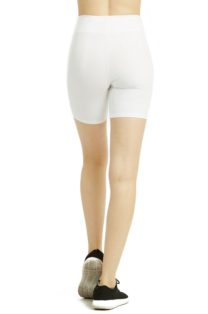 COTTONBELL LADIES COTTON 15 INCH OUTSEAM SHORTS WITH WIDE WAISTBAND (WP4015C_WHITE)