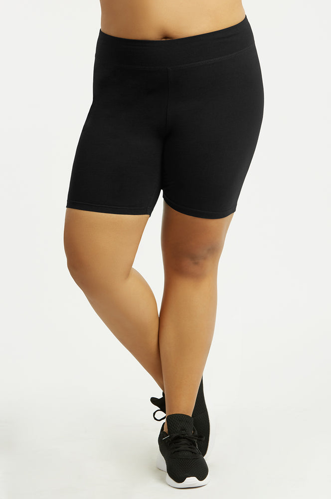 COTTONBELL LADIES COTTON 15 INCH OUTSEAM SHORTS WITH WIDE WAISTBAND PLUS SIZE (WP4015XC_BLACK)
