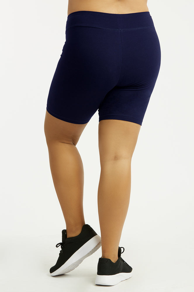 Load image into Gallery viewer, COTTONBELL LADIES COTTON 15 INCH OUTSEAM SHORTS WITH WIDE WAISTBAND PLUS SIZE (WP4015XC_NAVY)