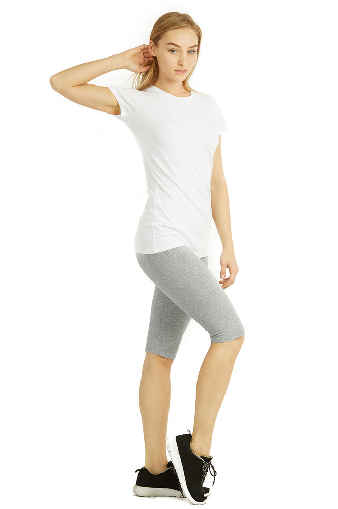COTTONBELL LADIES COTTON 21 INCH OUTSEAM SHORTS WITH HIGH WAISTBAND (WP4021C_H.GRY)