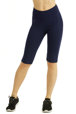 COTTONBELL LADIES COTTON 21 INCH OUTSEAM SHORTS WITH HIGH WAISTBAND (WP4021C_NAVY)