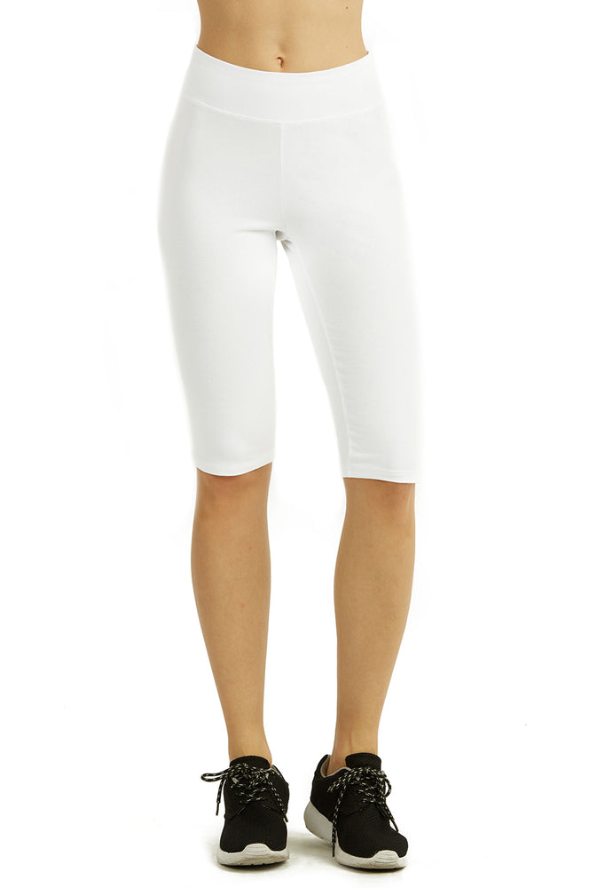 COTTONBELL LADIES COTTON 21 INCH OUTSEAM SHORTS WITH HIGH WAISTBAND (WP4021C_WHITE)