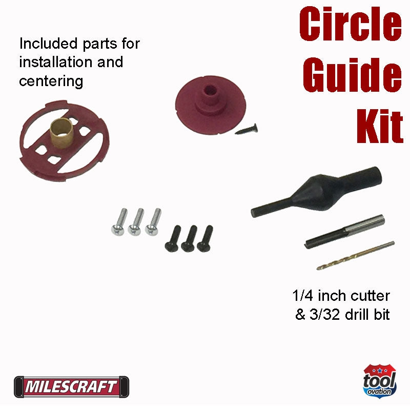 1269 Milescraft Circle Guide Kit box contents for installation, centering and drill bits