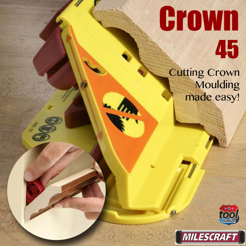 1405 Milescraft Crown 45 Mitre Saw Jig cutting crown moulding