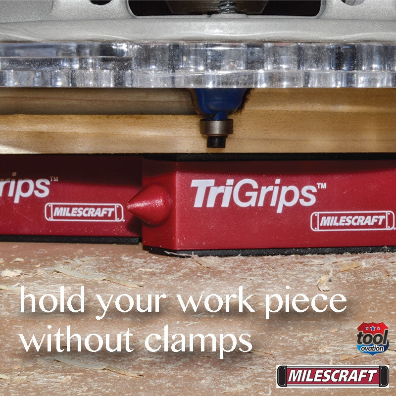 1600 Milescraft TriGrips example showing holding a work piece without clamps