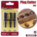 5340 Milescraft Plug Cutter Set - package sold and example plugs cut