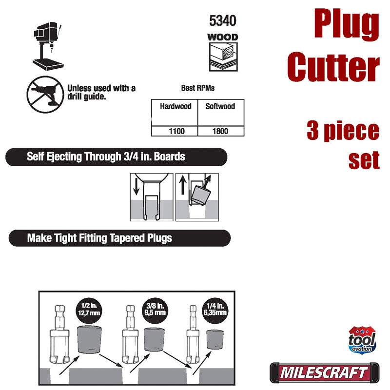 5340 Milescraft Plug Cutter Set - additional information on plug cutter sizes