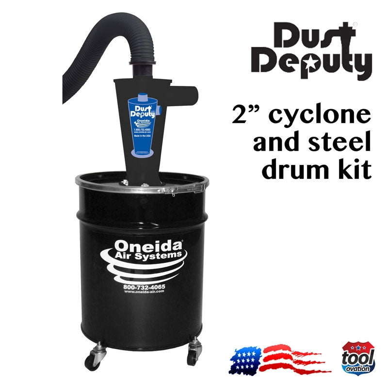 "Oneida AXD000010SD Dust Deputy Deluxe - 2"" Cyclone & steel drum kit"