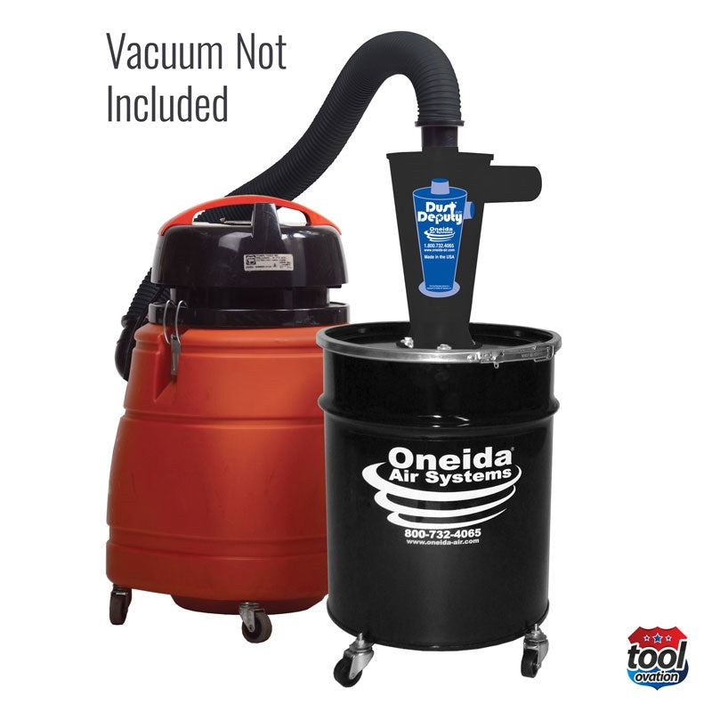 "Oneida AXD000010SD Dust Deputy Deluxe - 2"" Cyclone & steel drum kit example vacuum connectivity"