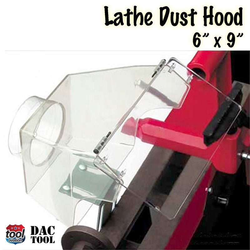 DAC1078 Lathe Dust Hood - 8 x 8 inches - example configuration with lathe, mounted on bracket