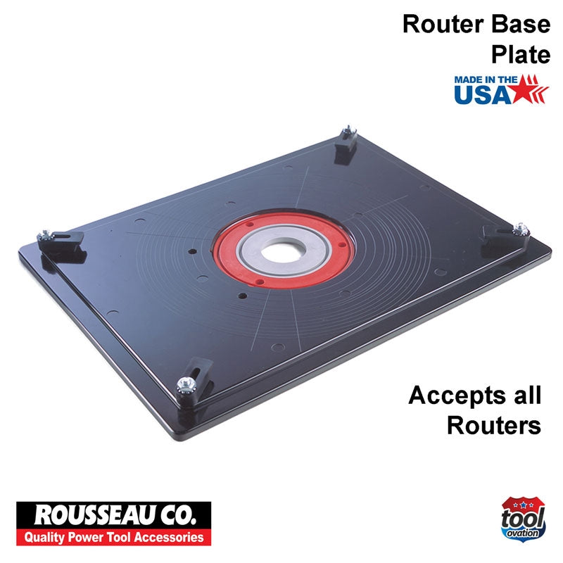 Rousseau Model 3509 Router Base Plate setup with removable insert rings, shoulder pin and corner snuggers