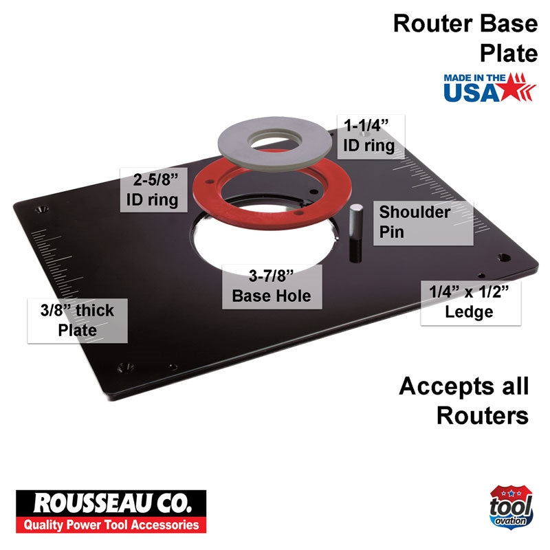 Rousseau Model 3509 Router Base Plate  technical information and sizing