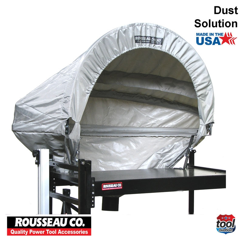DAC5000 Rousseau 500 Dust Solution for Mitre Saws - the hood captures dust from the saw