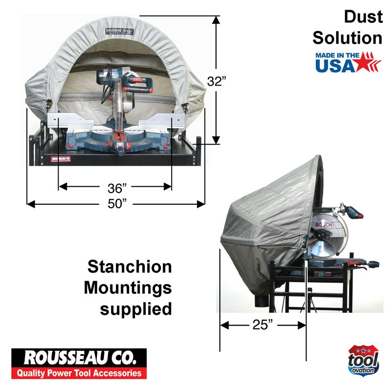 "DAC5000 Rousseau 500 Dust Solution for Mitre Saws - hood dimensions, 32"" high, 36"" hood mouth, 50"" hood width total"
