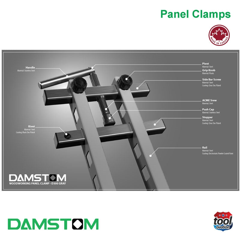 Damstom Panel Clamp - D300 (single) - consists of: Handle, Rivet, Rail, ACME screw, Push Cap, Stopper, Pivot, Grip Knob and Side Bar Screw