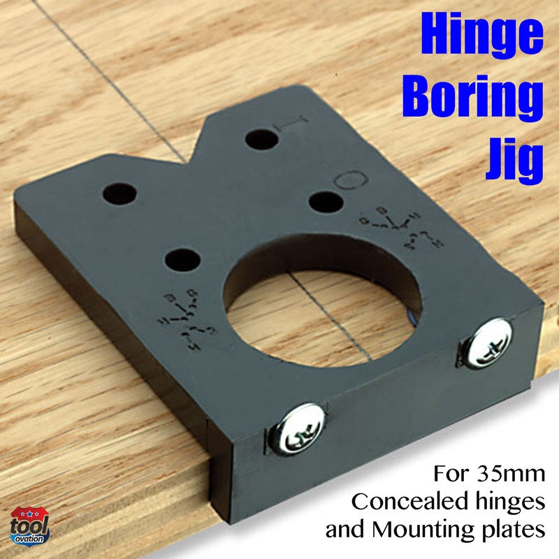 EASY.DRILL Easy Drill Hinge Boring Jig for 35mm concealed hinges - example layout on wood door