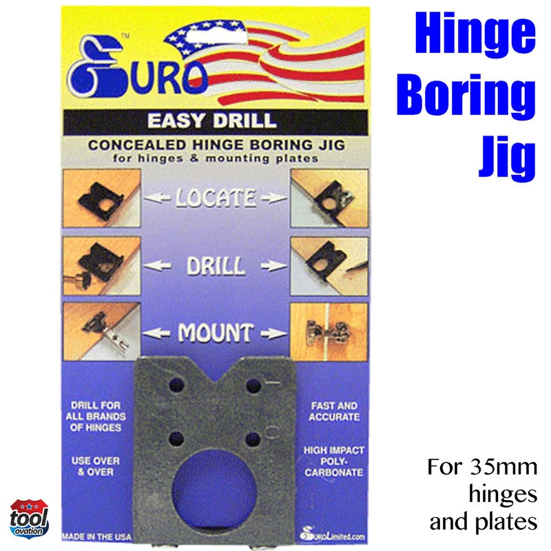 EASY.DRILL Easy Drill Hinge Boring Jig for 35mm concealed hinges - packaging with instructions