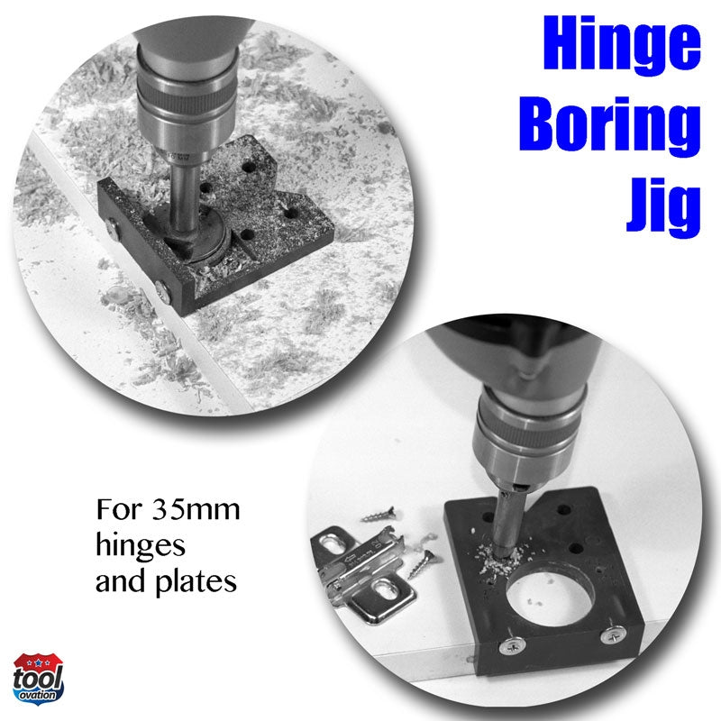 EASY.DRILL Easy Drill Hinge Boring Jig for 35mm concealed hinges - showing how with drill