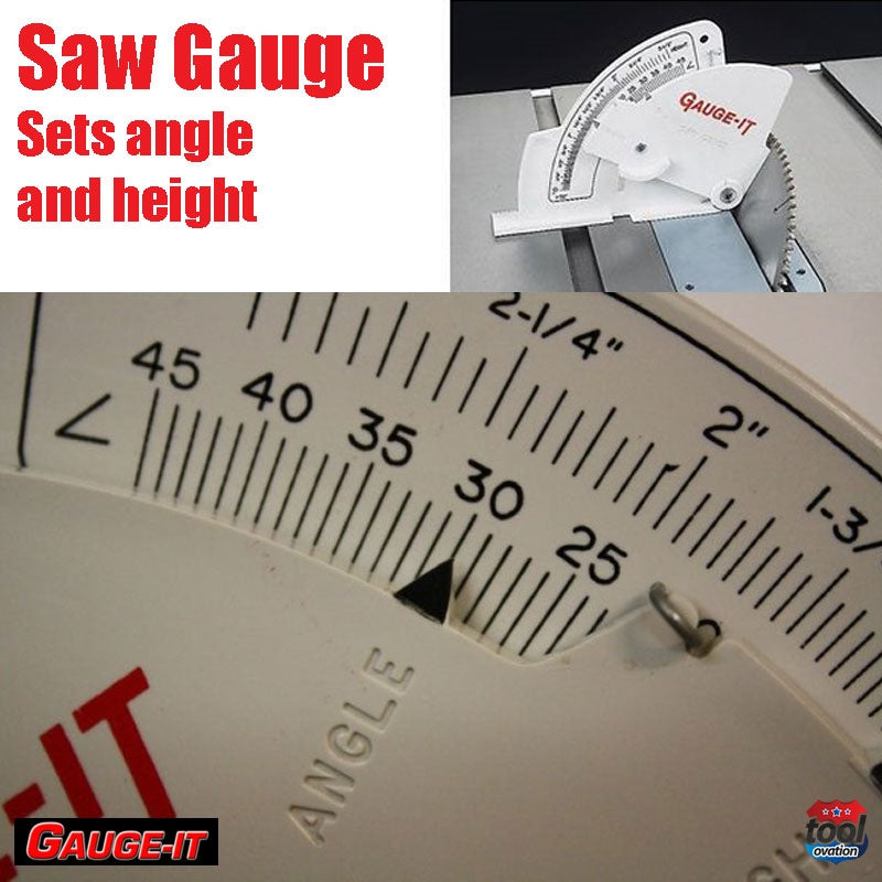 Saw Gauge - Left Tilting - quickly sets saw blades height, angle and fence - close up on saw angle and height