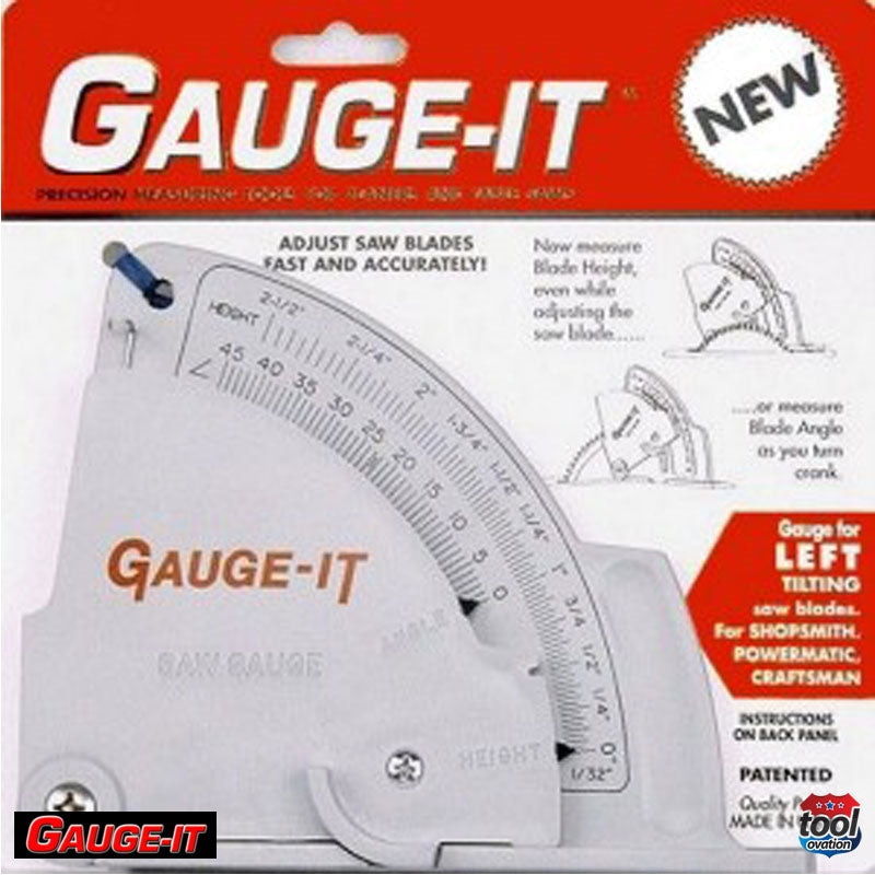 Saw Gauge - Left Tilting - quickly sets saw blades height, angle and fence - packaging and instructions