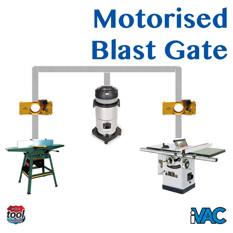 iVAC Pro Blast Gate - 4 inch motorised - example configuration for workshop dust extraction