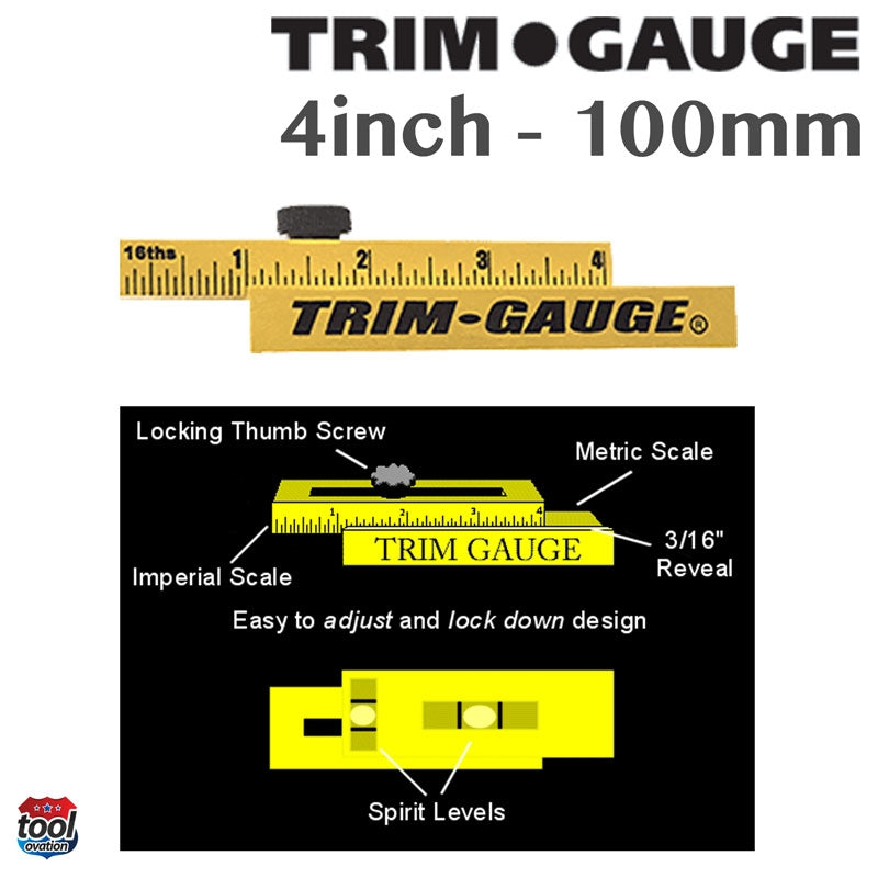 Trim Gauge features - imperial and metric scale - easy to adjust and lock down design