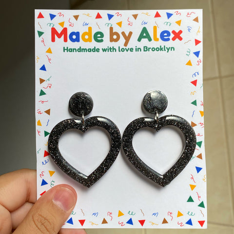 Black Sparkle Hearts Resin Earrings
