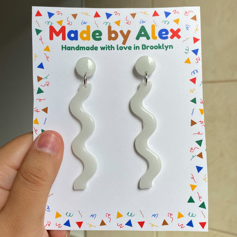 White Spooky Squiggles Resin Earrings