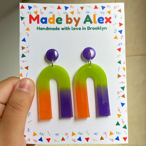 Spooky Tri-Color Resin Earrings