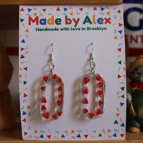 Watermelon Crystal Resin Earrings