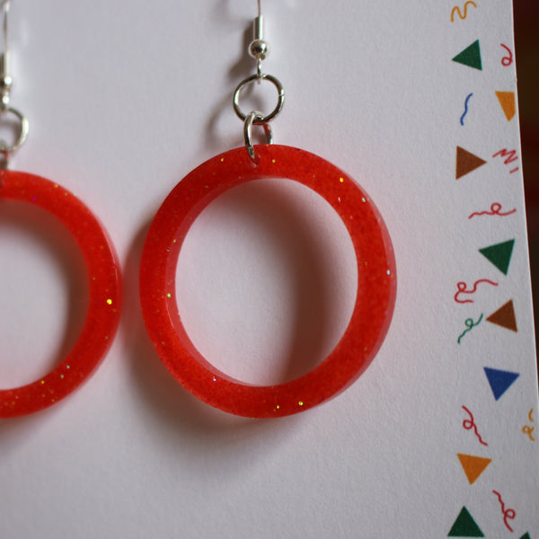 Fire Sparkly Loops Resin Earrings
