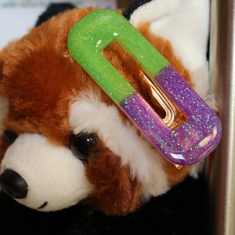 Purple and Green Resin Hair Clip Barrette