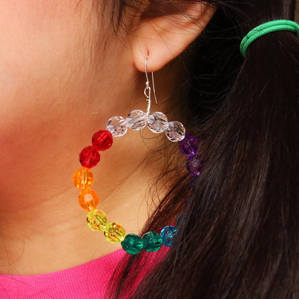 Rainbow 🌈 Beaded Hoop Earrings