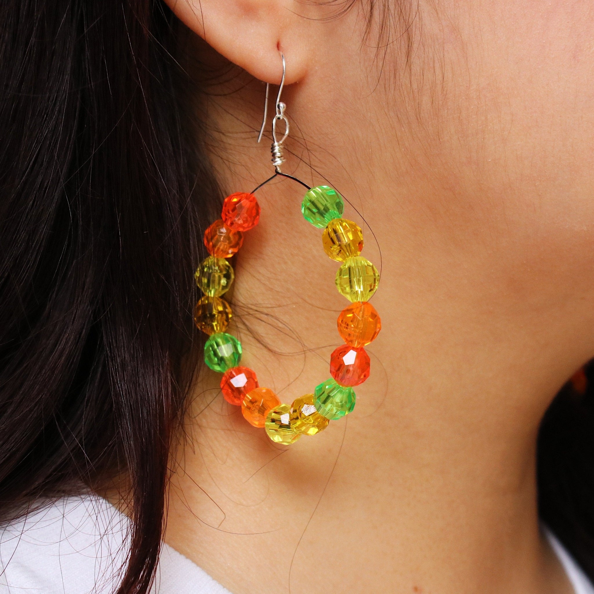 Citrus 🍊 Beaded Hoop Earrings