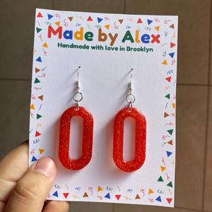 Deep Fire Sparkle Resin Earrings