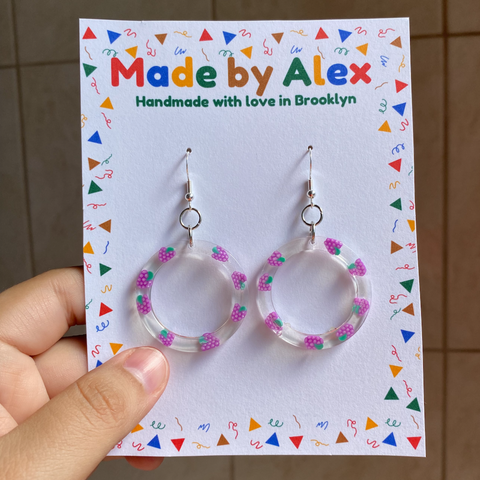 Ring of Grapes Resin Earrings