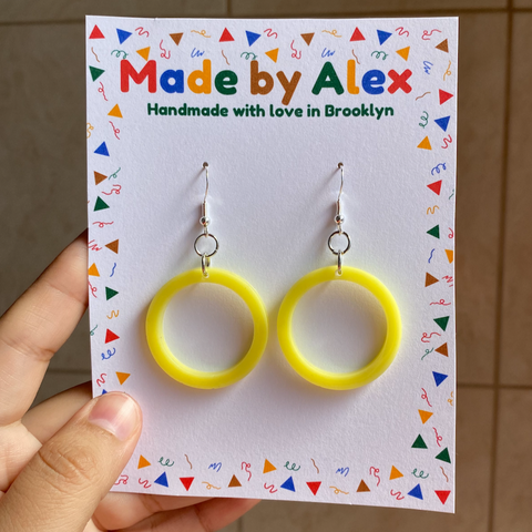 Lemon Yellow Resin Earrings