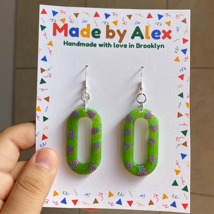 Grapes on the Green Resin Earrings