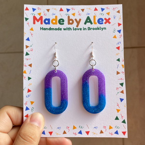 Purple Evening Sky Sparkle Resin Earrings